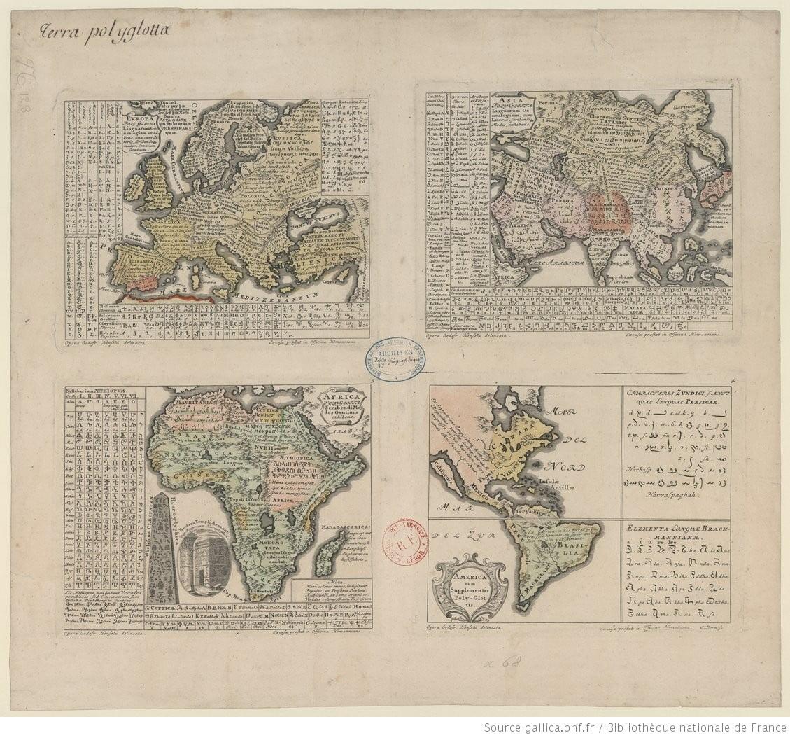 Карта распространение языков мира в средневековье