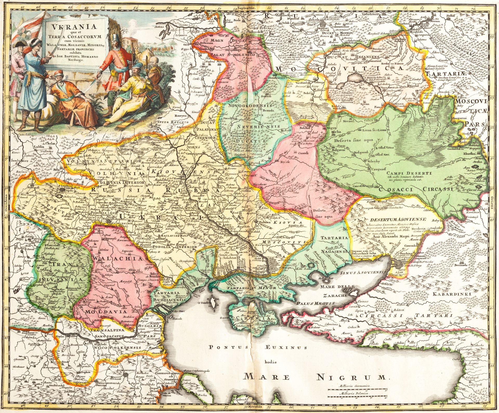 Карта Украины, Московии, южной Тартарии
